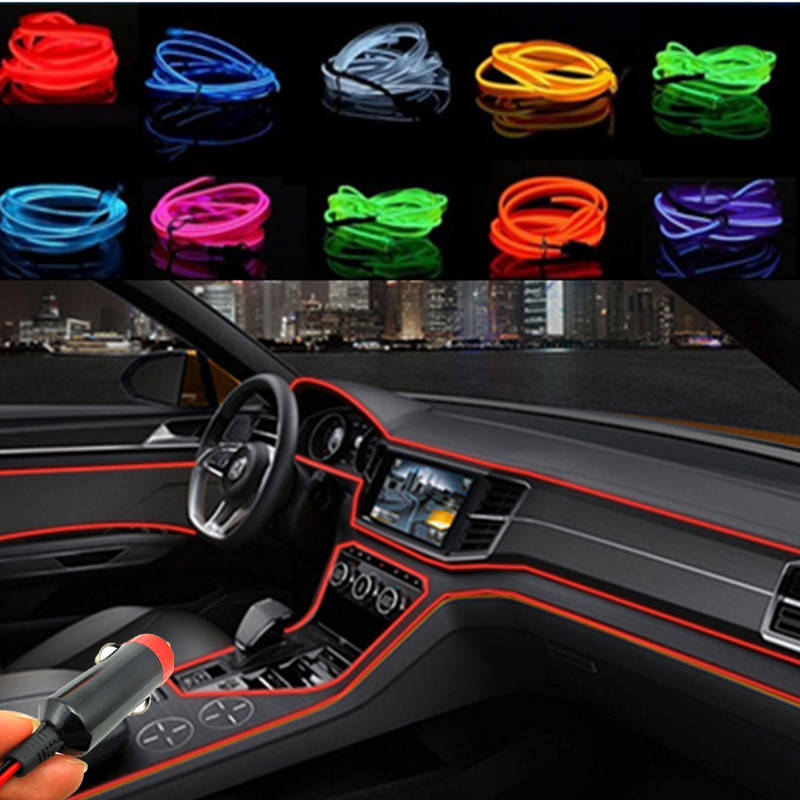 car styling 2m car interior light ambient light cold light line diy decorative dash board for. Black Bedroom Furniture Sets. Home Design Ideas