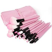 Professional 32Pcs Black Pink Cosmetic Makeup Brush Brushes Set Kit Tool Super Soft Pouch Bag Leather