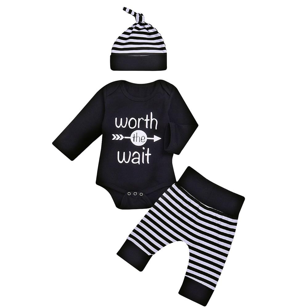 Hot 3Pcs infant Baby Boy Girls Worth the Wait Clothes Unisex Kids Long Sleeve Arrows Romper Top Striped Pant Jumpsuit Outfit 18M