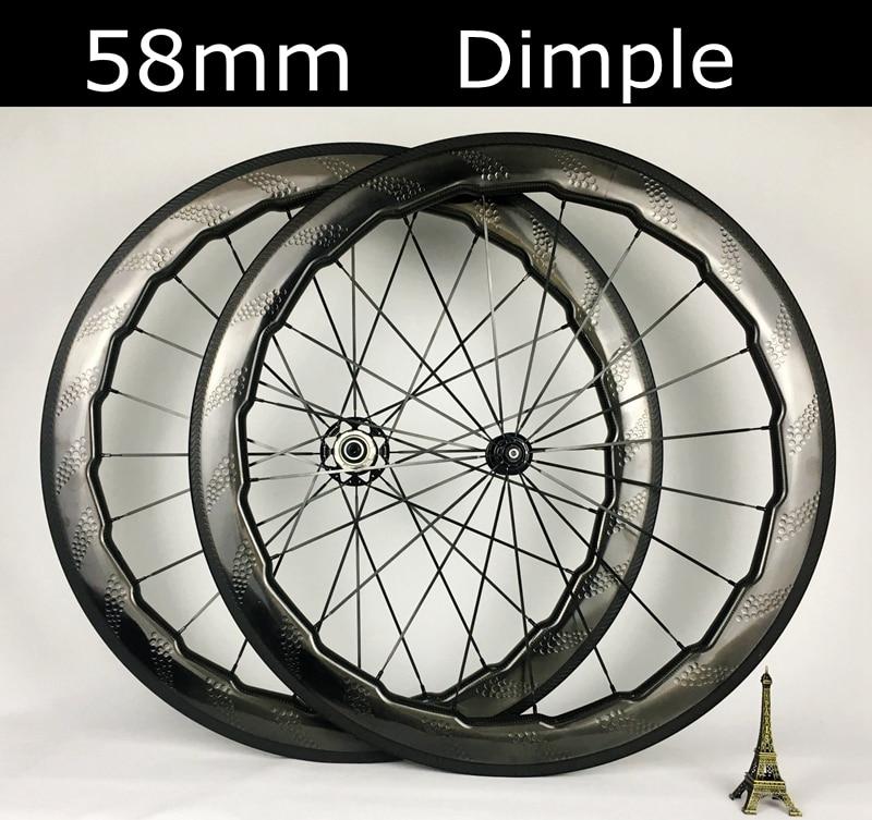 Tubeless 58mm dimple carbon wheels 700C clincher tubular Road bike wheel carbon wheelset