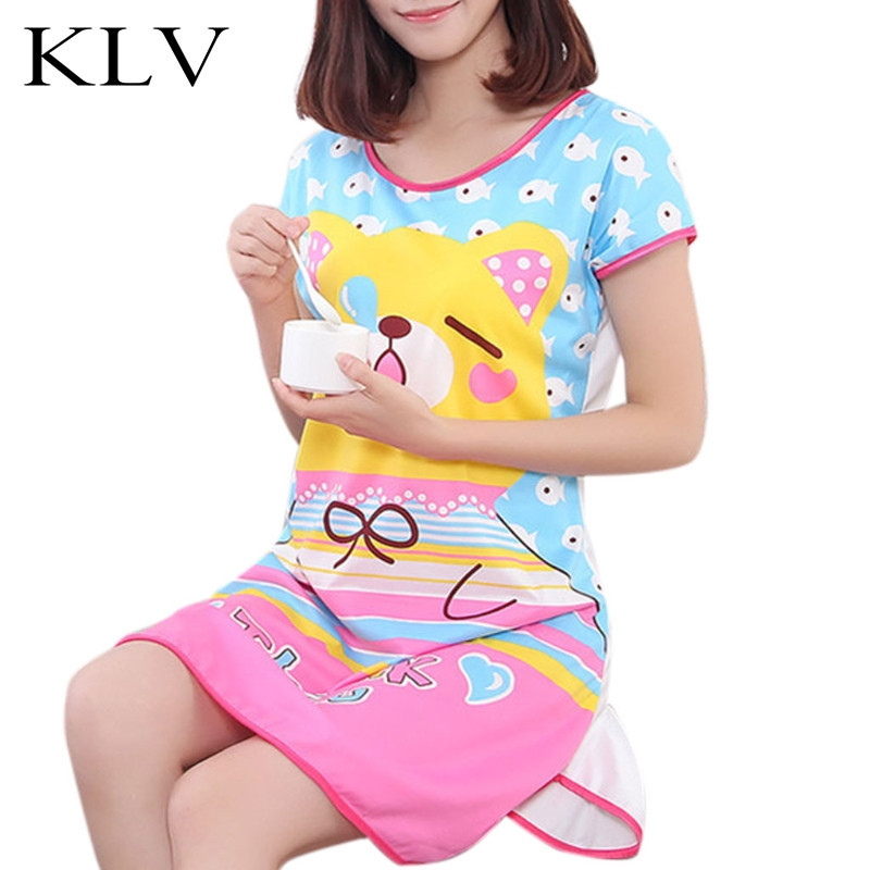 Womens Summer Short Sleeve Lovely Cartoon Pattern Printed Sleepshirt Plus Size