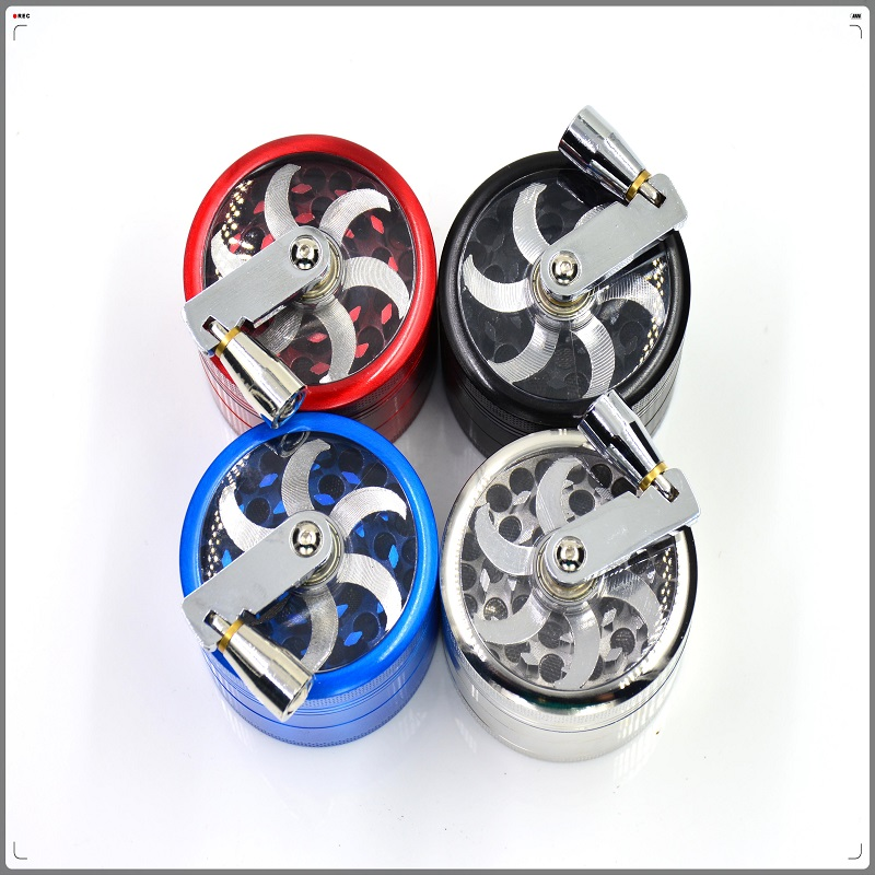 Fast Shipping Metal Hank Crank Herb Grinder 55mm Smoking Weed Sharp CNC Teeth Hand - Lucky Seller store