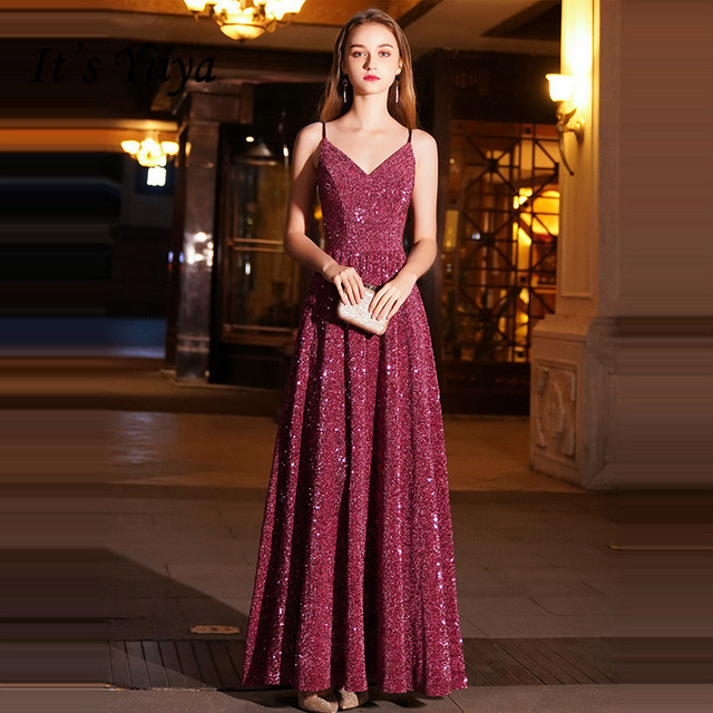 It's YiiYa Evening Dress Wine Red Spaghetti Strap Bling Formal Dresses Sexy V-neck Zipper Floor length Long Party Gown E088