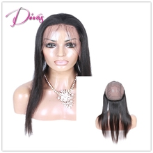 Top Quality Peruvian Virgin Human Hair Ear To Ear Lace Closure Frontal Silky Straight 360 Lace Frontal Cap with Baby Hair Strap