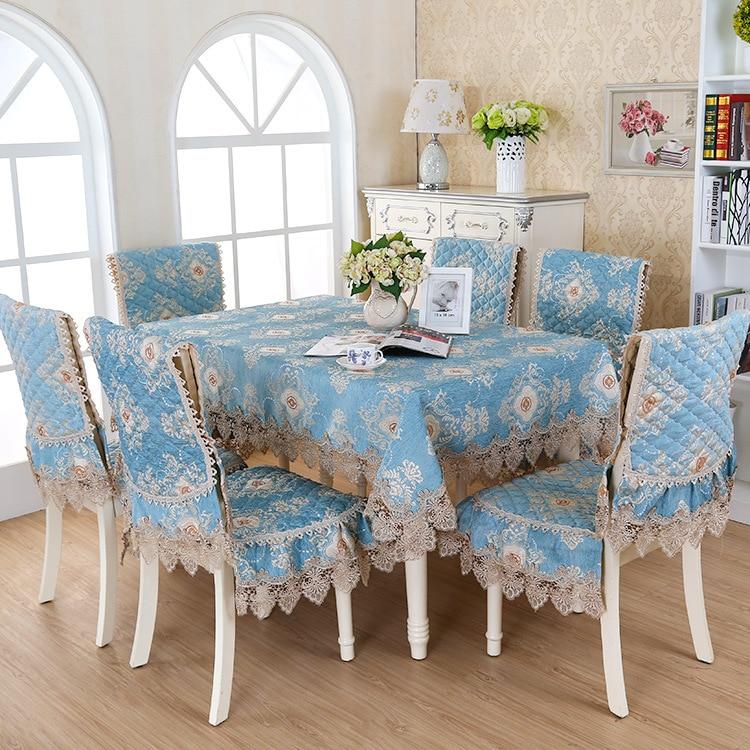 Bleu Romantique Dentelle Floral Jacquard Nappe Ensemble Costume 150200 Cm Table Tissu Chaise Assortie Couverture 1 Set Prix Livraison Gratuite Dans Nappes