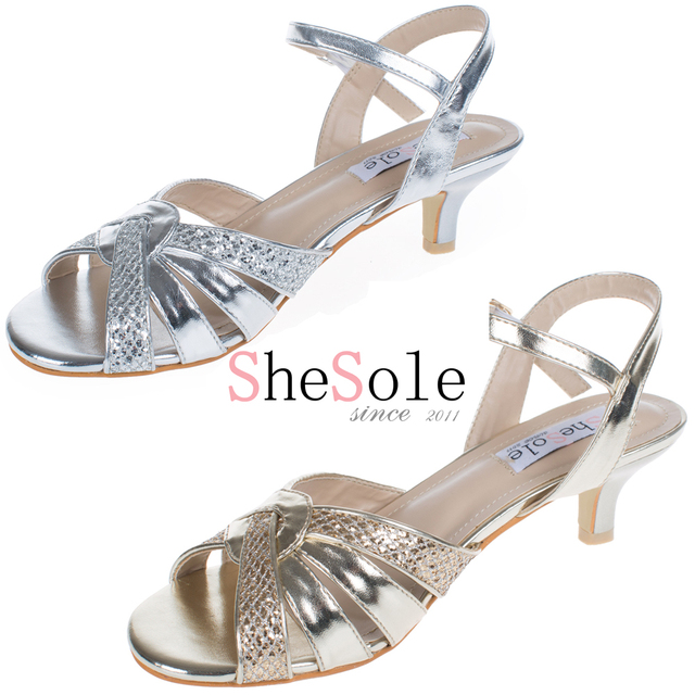 ShoSole Brand Silver Low Heel Wedding Shoes Kitten Heels Sandals Gold Dress  Party Shoes Strappy Rhinestone