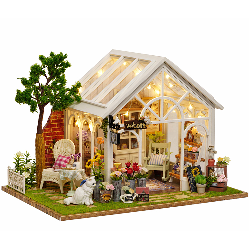 Cutebee DIY House Miniature with Furniture LED Music Dust Cover Model Building Blocks Toys for Children Casa De BonecaCutebee DIY House Miniature with Furniture LED Music Dust Cover Model Building Blocks Toys for Children Casa De Boneca