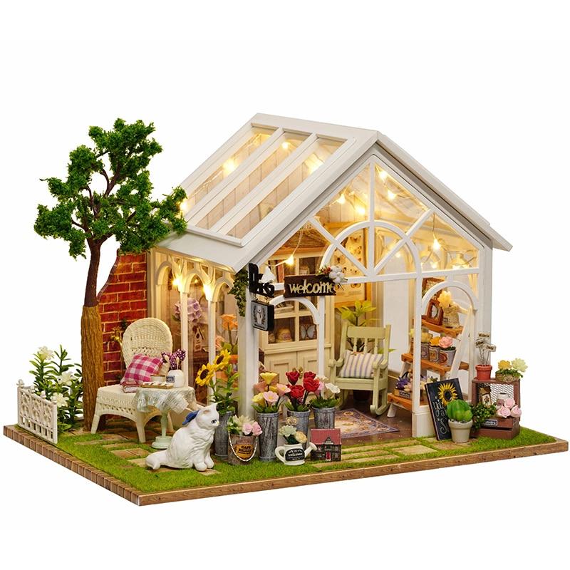 Cutebee bricolage maison Miniature avec meubles LED musique couverture De poussière modèle blocs De construction jouets pour enfants Casa De Boneca
