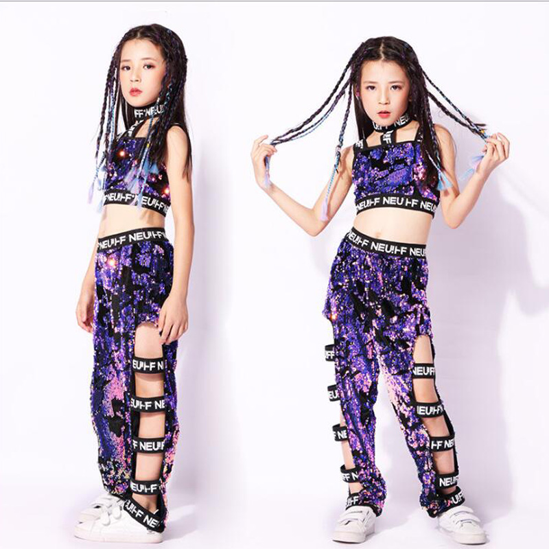 Enfants filles violet paillettes manteaux pantalons Hip Hop vêtements tenues Jazz danse Costume enfants salle de bal danse porter des costumes de scène