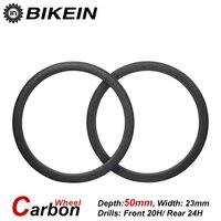 BIKEIN 1 Pair Cycling Road Bike 700C 3k Carbon Clincher Tubular Wheels 23mm Width 50mm Depth