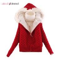 AKSLXDMMD 2019 autumn winter women sweater fashion thick fleece sweater cardigan hooded warm female knitted sweater coat D013