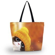 Cute Animal Foldable Shopping Bag Women Shoulder Lady Handbag Pouch Zipper Closure Pocket Tote