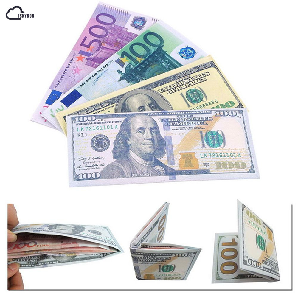 New Chic Unisex Mens Women Currency Notes Pattern Pound Dollar Euro Purse Wallets Hot Fashion 2018
