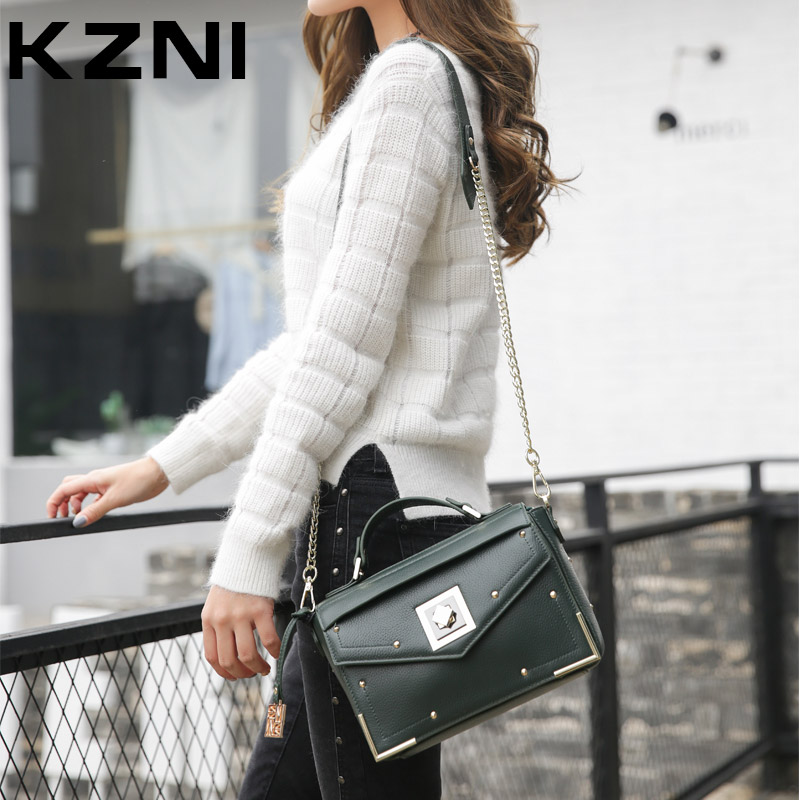 KZNI 2017 Handbag for Women Genuine Leather Cowhide Clutch Tote Handbags Classic Flap Bag with Chain Rivet Crossbody Bag 1349