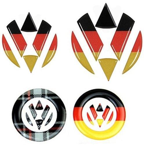 steering wheel car sticker germany flag decal vw emblem front rear logo for volkswagen golf 6 7. Black Bedroom Furniture Sets. Home Design Ideas