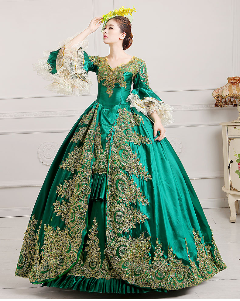 women medieval costume victorian 18th century dress embroidery Green ball gown with hat