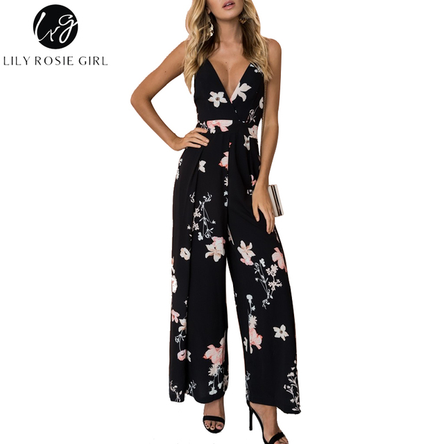 837e5e4ac77c Lily Rosie Girl Sexy V Neck Black Floral Print Women Jumpsuits Casual Boho  Bow Backless Playsuits Summer Overalls Ladies Rompers