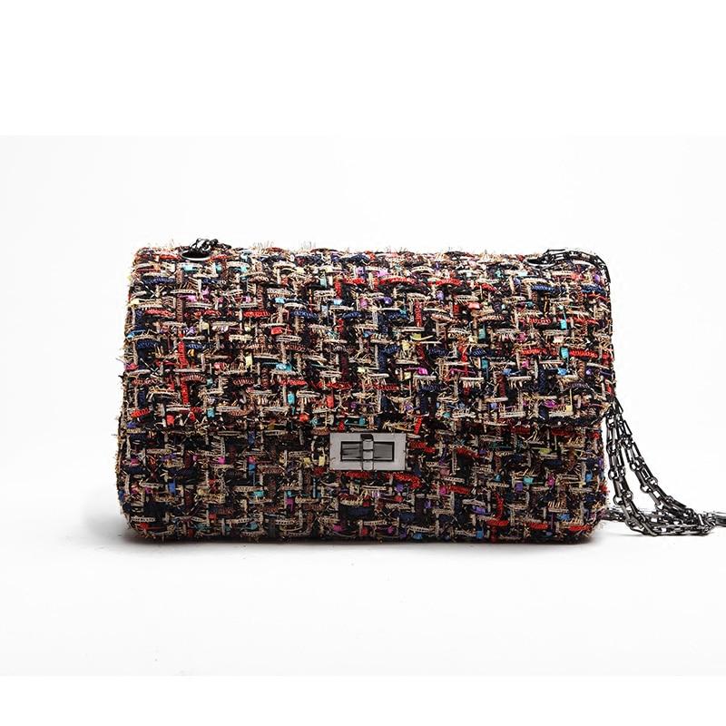 2017 new arrival women shoulder bag wool material Plaid handbag lock design women fashion crossbody handbag dream 2016 new arrival plaid cowhide handbag women s bag