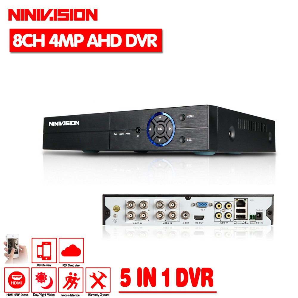 2018 Hot 8CH 4MP AHD DVR Digital Video Recorder for CCTV Security Camera Onvif Network 16Channel IP HD 1080P NVR Email Alarm 4ch 8ch 1080n cctv ahd dvr nvr xvr video