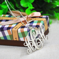 Handmade Monogram Necklace Solid Silver Personalized Name Custom 3 Initials Pendant Fashion Jewelry Bridesmaid Gift