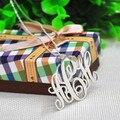 Hecho a mano Collar Del Monograma de Plata Maciza Nombre Personalizado Custom 3 Mujeres de La Joyería de dama de Honor Regalo Pendiente Inicial