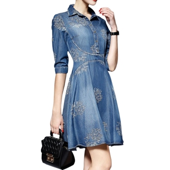 2018 S-5XL Plus Size Women Denim Dress Vintage Half Sleeve Long Floral Embroidery Dresses