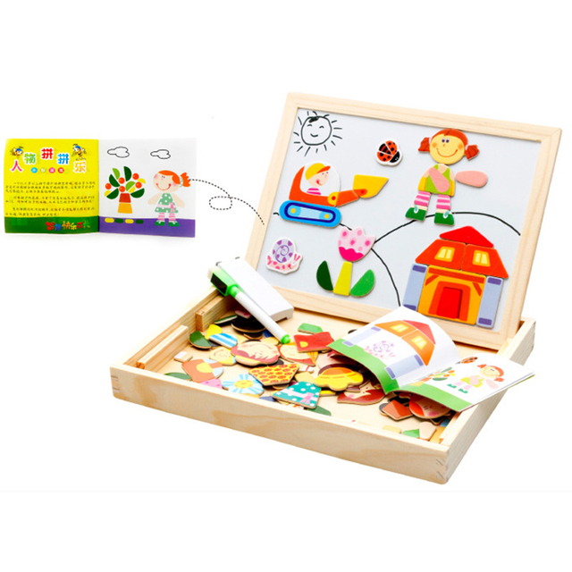Simingyou Puzzle Wooden Children Learning Education Multifunctional Magnetic Cartoon Figures Drawing Board Kids Toys WDX42