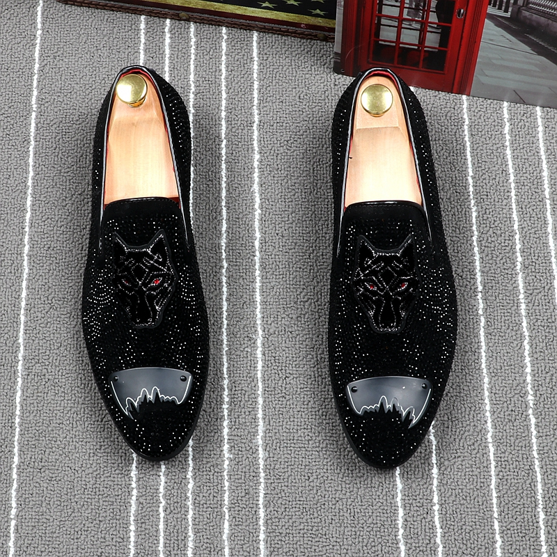 New Fashion Mens Party Nightclub Wear Black Genuine Leather Shoes Rhinestone Slip On Lazy Shoe Gentleman Loafers Zapatos Hombre