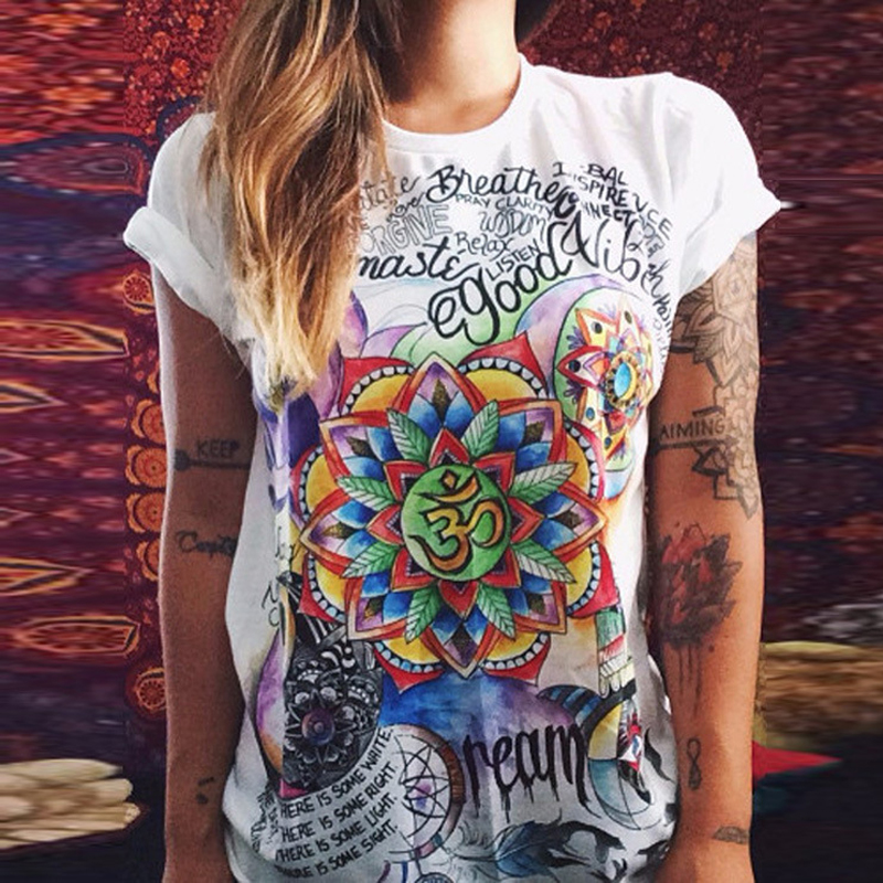 Nya 6 Färger Kvinnor Sommar Kortärmad Solros Brev Owl Blusskjorta - Damkläder - Foto 4