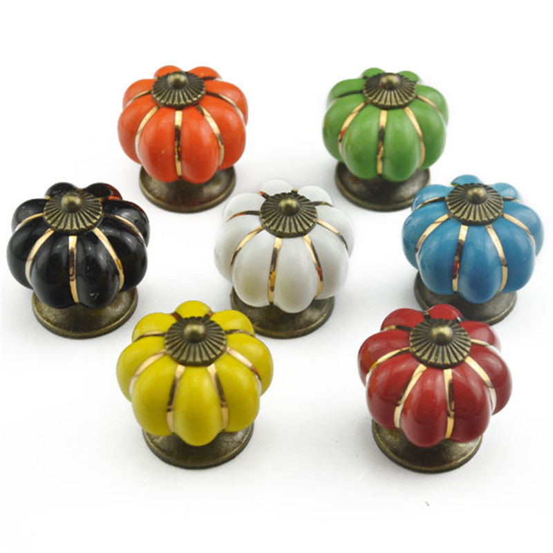 1pcs Vintage Pumpkin Ceramic Door Knobs Furniture Handle Cabinet Knobs Handles for Furniture Drawer Cupboard Kitchen Pull Handle furniture drawer handles wardrobe door handle and knobs cabinet kitchen hardware pull gold silver long hole spacing c c 96 224mm