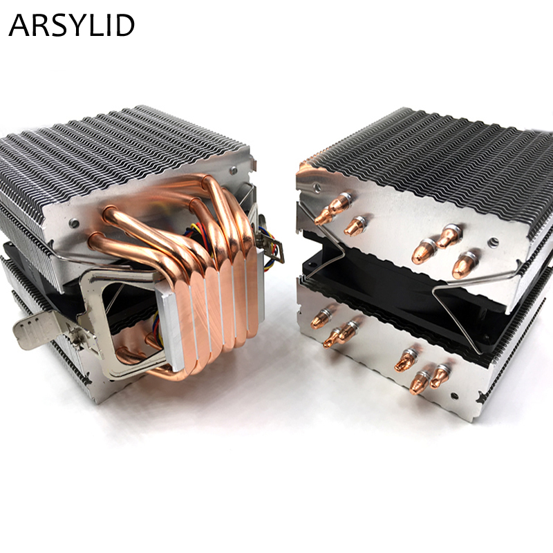 ARSYLID CN-609A CPU cooler 9cm fan 6 heatpipe dual-tower cooling for Intel LGA775 1151 115x 1366 2011 for AMD AM3 AM4 radiator computer cooler radiator with heatsink heatpipe cooling fan for hd6970 hd6950 grahics card vga cooler