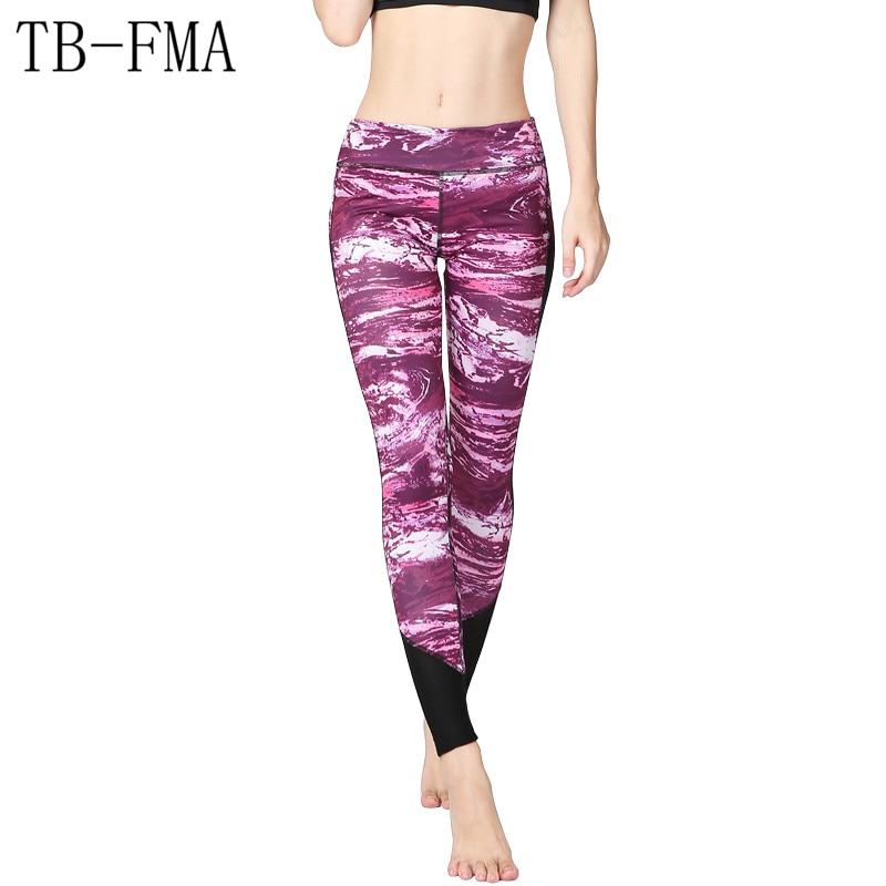 Women Sportswear Yoga Leggings Lady Tights Bright Pink Printed Sport Yoga Pants Elastic Compression Fitness Gym Running Leggings