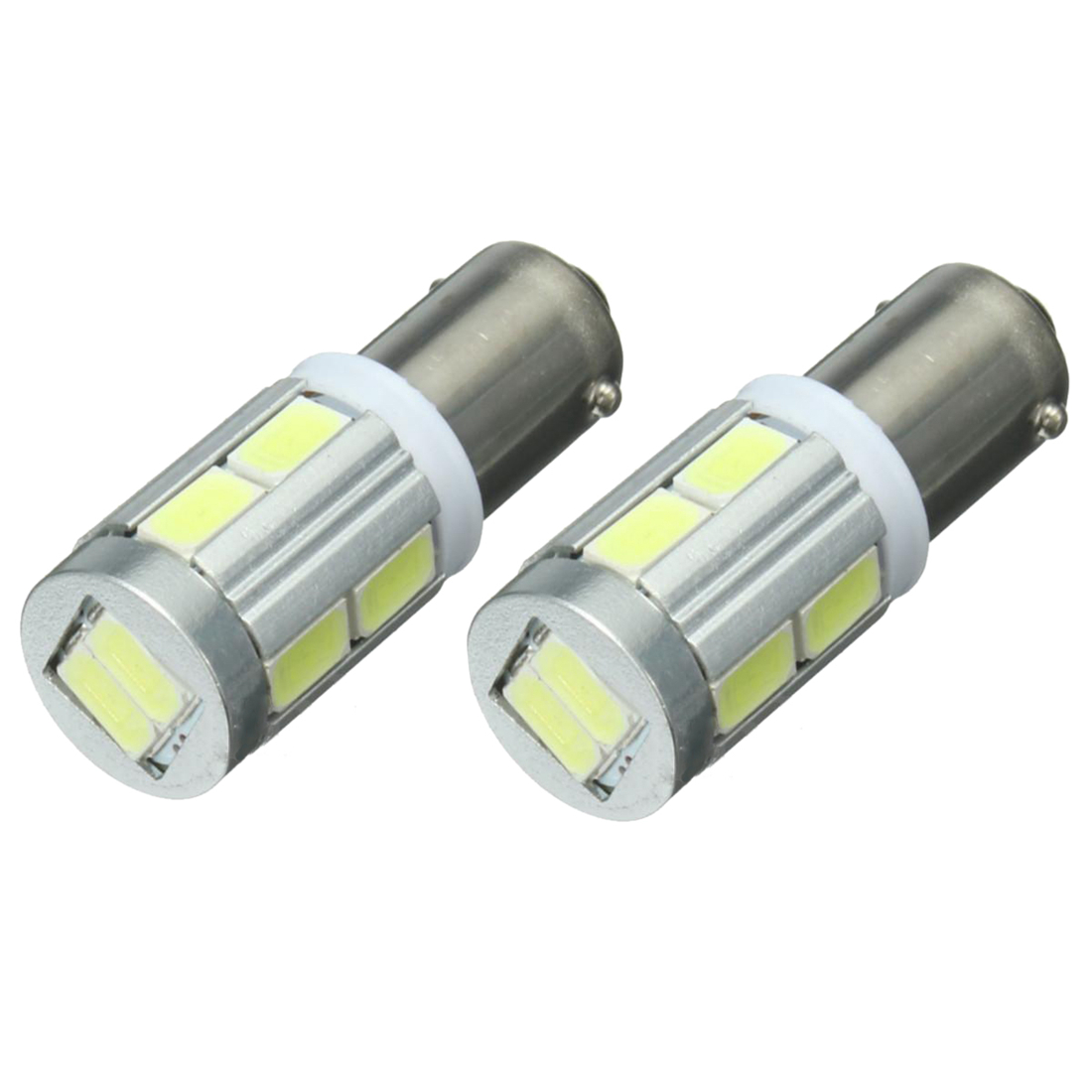 2x Universal BA9S H6W 10SMD LED Sidelight Bulbs Canbus Error Free 6000k White 2pcs brand new high quality superb error free 5050 smd 360 degrees led backup reverse light bulbs t15 for jeep grand cherokee