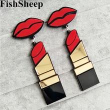 FishSheep New Fashion Acrylic Red Mouth Lips Lipstick Drop Earrings For Women Hip-Hop Geometric Long Earring Nightclub Jewelry