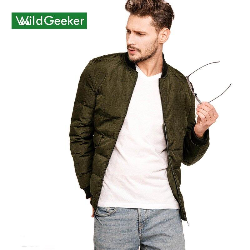 Wildgeeker Men's Jackets Bomber Big Size Solid Slim Green Stand Collar Casual Outwear 2017 Spring Military Style Coat Men Jacket bert pulitzer men s big textured solid sport coat