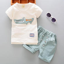 Summer childrens clothing new baby clothes 0-1-2-3 years old cute cartoon short-sleeved cotton and linen set two-piece