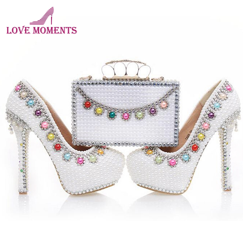 Women High Heel Platform Shoes with Matching Bag Wedding Bride Fashion Shoes and Clutch White Pearl