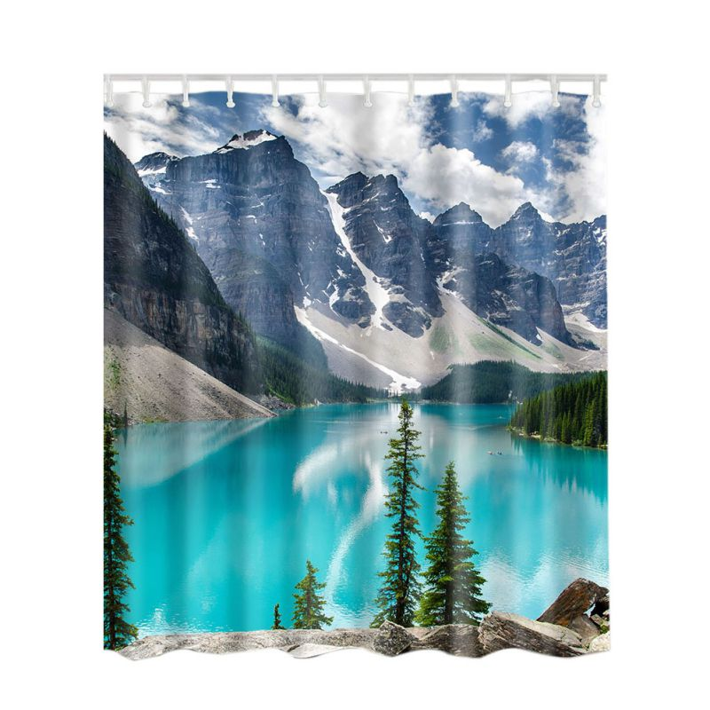 SPA Waterproof Shower Curtain Bathroom Decor Blue Ocean Seaside Scenery/ Sunset / Waves / Lakeview Shower Curtains