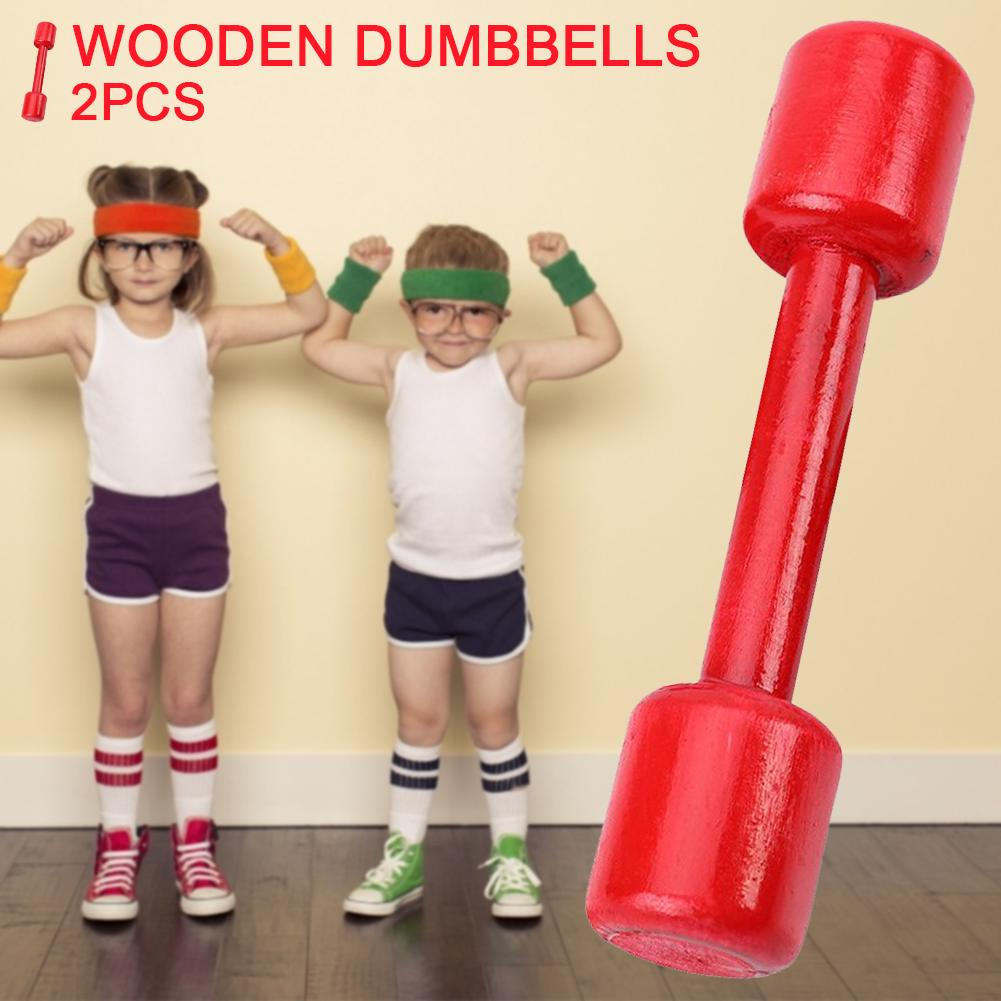 2pcs Wooden Dumbbells Fitness Sports Exercise Equipment Durable Exercising Eye And Arm Coordination For Kids Adult Portable
