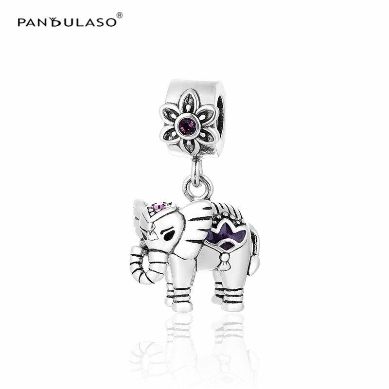 Pandulaso Purple Enamel Elephant Silver Beads Fit Charms Silver 925 Original Bracelets & Necklaces Fine DIY Jewelry