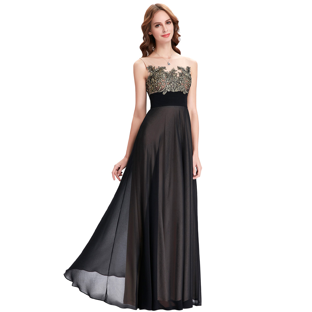Aliexpress.com : Buy Kate Kasin Lace Appliques Bridesmaid Dresses Long  Patterns Floor Length Junior Prom Dress Black Bridesmaids Dresses For  Wedding From ...