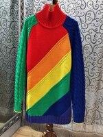 2018 лето новые женские Высокий воротник подбора цвета свитер 819