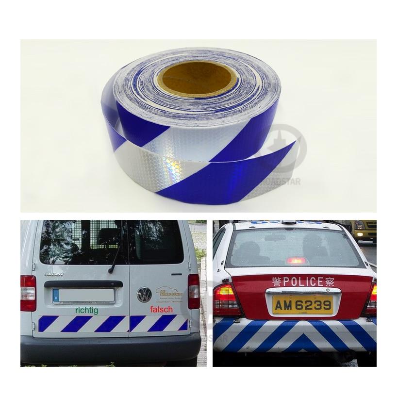 5 cm x 50 m reflecterende tape zelfklevende rood-witte stralende - Accessoires voor auto-exterieur - Foto 2