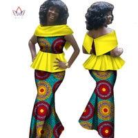 Summer African Print Skirt Sets Dashiki Off Shoulder Skirt And Crop Top Skirt Set Traditional African Clothing AT1525