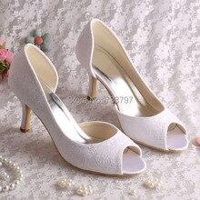 Лаконичный Стиль Кружева женская Обувь Свадебные Белое Кружево На Высоких Каблуках Скольжения На