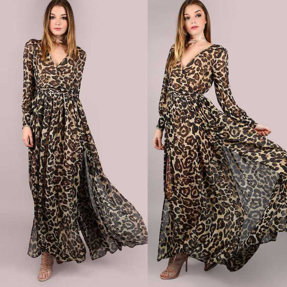 0c862a893bb5 ... New Fashion Autumn Sexy X-long Dresses Women Leopard Print Long Sleeve  Maxi Dress Sexy