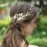 Gold Floral TiaravHandmade Loops Wedding Crown Pearls And Crystal Bridal Headpiece 2019