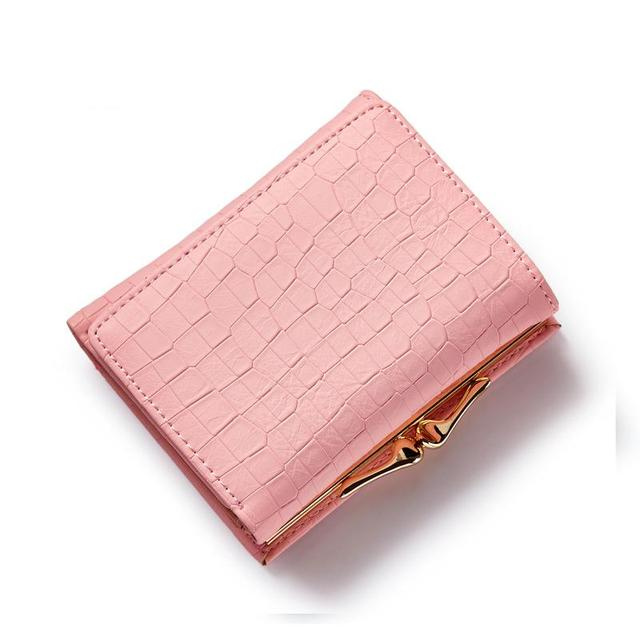 Women small three fold PU leather wallet