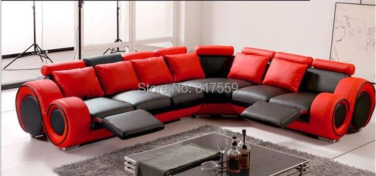 Modern sofa set in red color in living room sofas from for Sofas en l modernos
