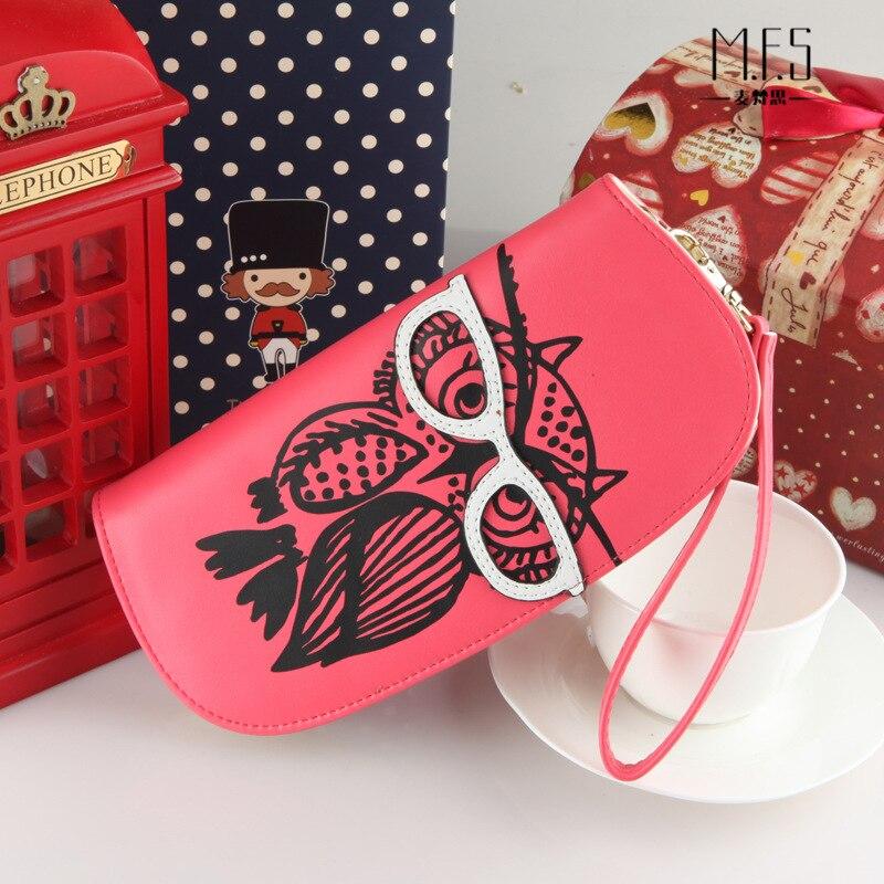 Cartoon women leather owl glasses long wallets and purses designer organizer billeteras para mujer carteira feminina 40